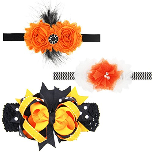 RareLove Halloween Costume Baby Girl Feather Headbands Bulk Set 3pcs Spider Bow Black (Cute Mother Baby Halloween Costumes)