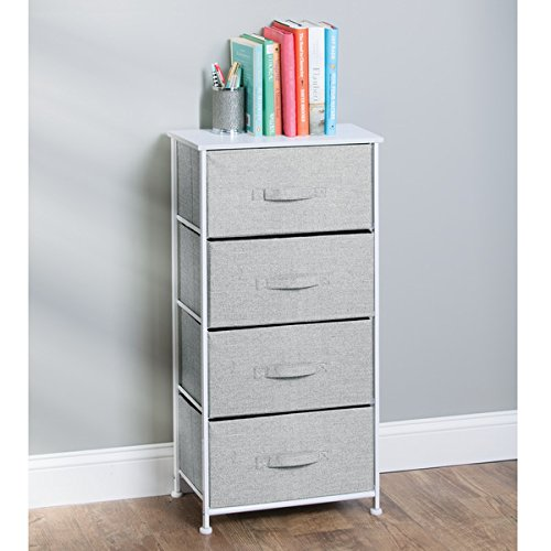 mDesign Fabric 4-Drawer Storage Organizer Unit for Bedroom, Nursery, Office - Gray Photo #5