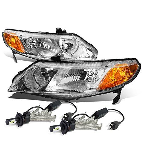 Honda Civic 4dr Sedan Headlight - For Honda Civic 8th Gen 4DR Sedan Pair of Chrome Housing Amber Corner Headlight + 9006 LED Conversion Kit