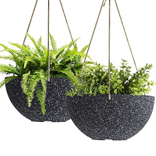 Hanging Planters Wall Resin Planter - Resin Planter with Drainage, 10 Inch Planter, Indoor Outdoor Flower Plant Pot, Modern Speckled-Black Pot Pack 2