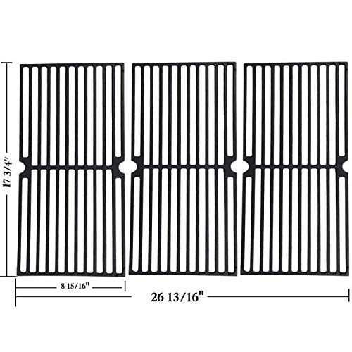 Porcelain Cast Iron Cooking Grates - GGC Grill Grates Replacement for Brinkmann 810-8410-F, 810-2410-S, 810-2511-S, 810-2512-S, 810-8411-5, 810-9415-W and Others, Porcelain Coated Cast Iron Cooking Grate(17 3/4