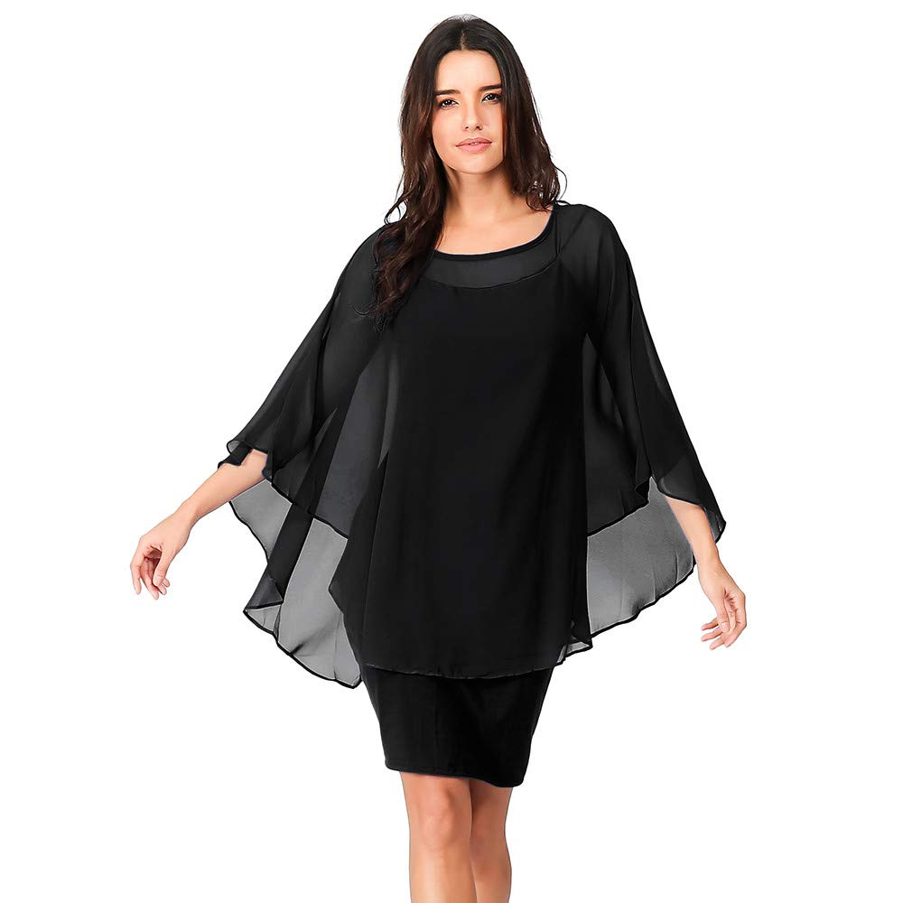 Fake Two-Piece Chiffon Dress Ladies Solid Color Trumpet Sleeves Solid Color Party Round Neck Loose Dress MEEYA Black