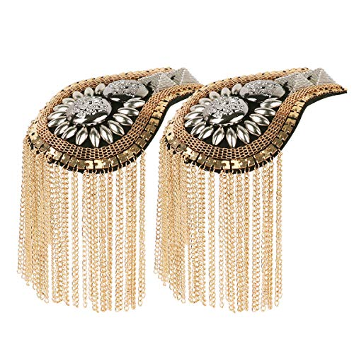 HinLot 1 Pair Fringe Epault Uniform Shoulder Badge Steampunk Costume Accessories -