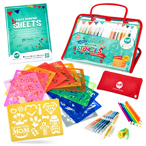 Holiday Stencils and Colored Pencils Arts and Crafts Set (USA Edition), 150+ Unique Reusable Designs for Christmas, Valentine's Day, Mother's Day and More, BPA-Free - for Kids Ages 4+ -