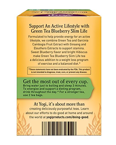 Amazon Com Yogi Tea Green Tea Blueberry Slim Life Energizes