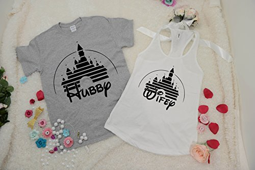 Hubby Wifey Disney Matching Shirts. Custom Date Disney Couples Shirt, Disneyland Matching Shirts. Disney Valentines Day Honeymoon t-shirts]()
