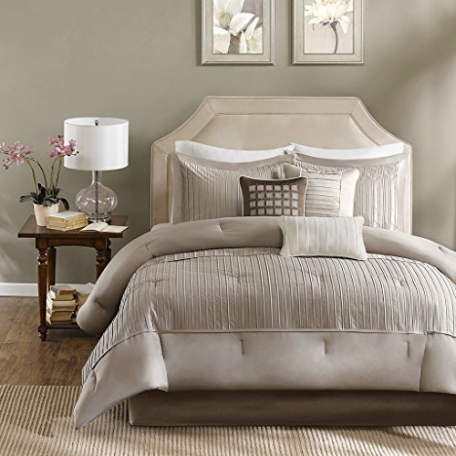 Madison Park Trinity 7 Piece Comforter Set-Taupe-Queen