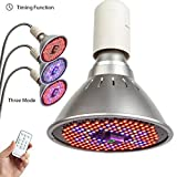 JCBritw LED Grow Light Bulb with Stand for Indoor Plants Full Spectrum Plant Growing Lamp with Timer Plant Lights Remote Control for Greenhouse Hydroponic Veg and Flower (24W, Three Mode Switch, E26) For Sale