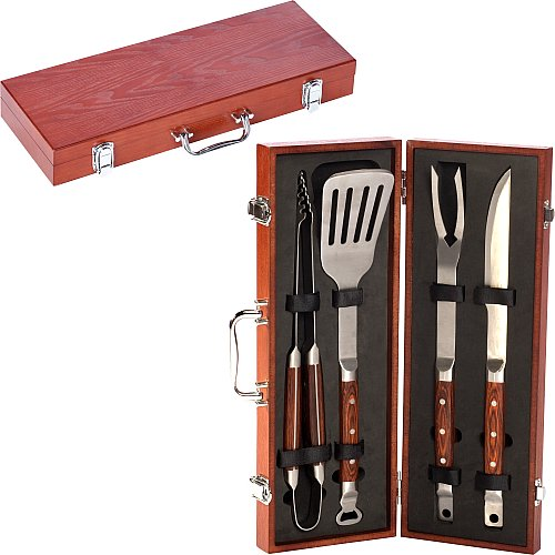 Picnic Plus 4 Piece Rosewood Handle Gourmet Barbecue Tool Set