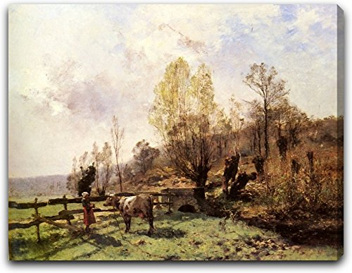 a-pastoral-scene-with-a-milkmaid-and-a-cow-by-leon-germain-pelouse-21-x-26-extra-thick-25-gallery-wr