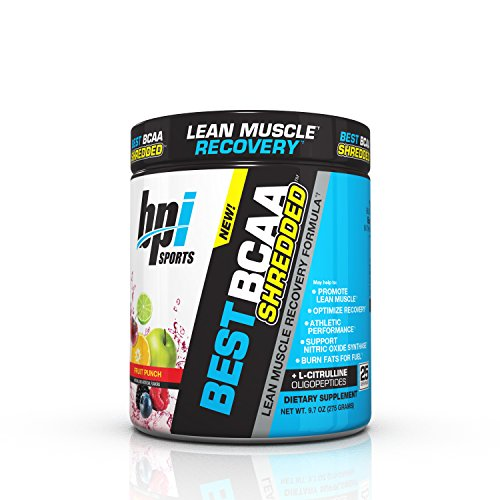 BPI Sports Best BCAA Shredded Caffeine Free Thermogenic Recovery Formula for Lean Muscle Growth, Fruit Punch, 9.7 Ounce