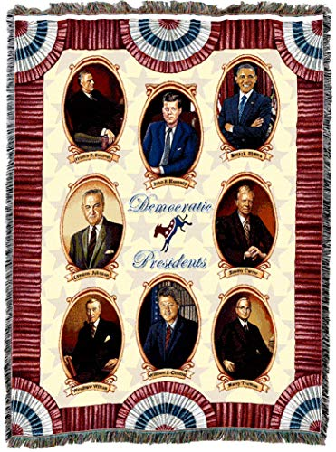 Pure Country Weavers | Great Democrat Presidents Obama Carter Kennedy Johnson Roosevelt Woven Tapestry Throw Blanket with Fringe Cotton USA 72x54 ()