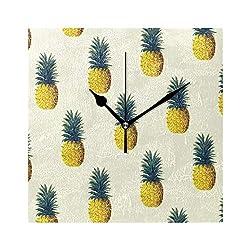 HangWang Wall Clock Pineapple Pattern Silent Non Ticking Decorative Square Digital Clocks Indoor Outdoor Kitchen Bedroom Living Room