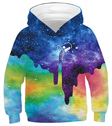 GLUDEAR Youth Girls Boys 3D Galaxy Printed Pockets Sweatshirts Jacket Pullover Hoodies,Tie Dye Galaxy