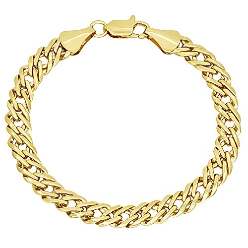 Venetian Link Chain (The Bling Factory 7.4mm 14k Yellow Gold Plated Double Link Venetian Chain Bracelet, 8