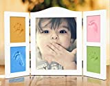 Newborn Baby Handprint and Footprint Deluxe Photo Frame Plexiglass cover Impression Kit - Makes A Perfect Baby Shower Gift,Non Toxic and Safe Clay