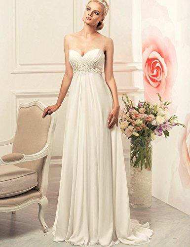 Brautkleid Elfenbein Ballkleid Kleider Trägerlos Strand Braut Kleid Chiffon CoCogirls Sexy Party Hochzeitskleid Abendkleid 7gqYcfwF