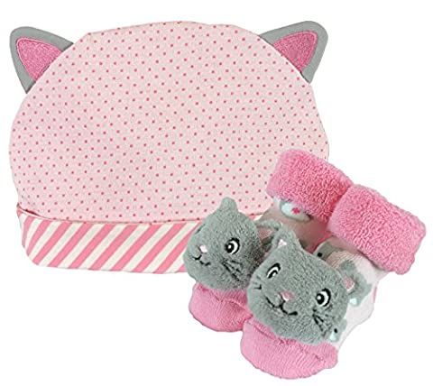 Stephan Baby Rattle Socks and Knit Cap Gift Set, Stripy Pink Kitten (Booties With Rattles)