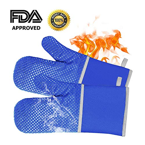 Blue Silicone Oven Hot Mitts - Heat Resistant & Waterproof 1 Pair of Extra Long Professional Heat Resistant Pot Holder & Baking Gloves - Food Safe, FDA Approved with Soft Inner Lining