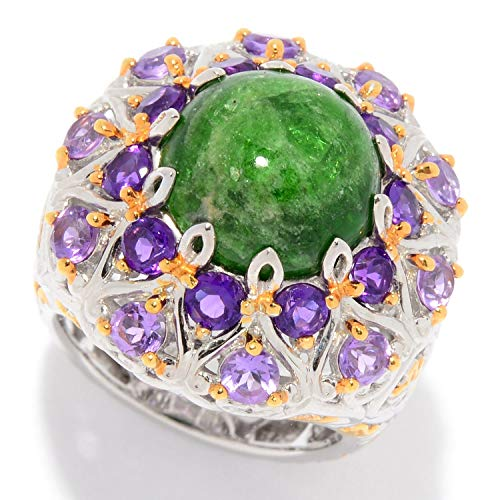 Michael Valitutti Palladium Silver Opaque Chrome Diopside & Amethyst Double Halo Ring