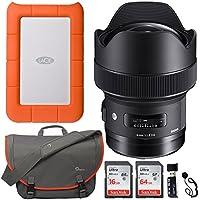 Sigma 14mm f/1.8 ART DG HSM Lens (for Nikon Cameras), LaCie Rugged Mini 1TB Portable Hard Drive, Sandisk Ultra SDXC 64GB, 16GB Memory Card, Lowepro Passport Messenger Bag and Accessory Bundle