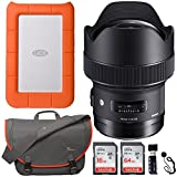 Sigma 14mm f/1.8 ART DG HSM Lens (for Nikon Cameras), LaCie Rugged Mini 1TB Portable Hard Drive, Sandisk Ultra SDXC 64GB, 16GB Memory Card, Lowepro Passport Messenger Bag and Accessory Bundle