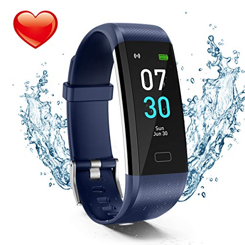Fitness Tracker, Activity Tracker Watch with Heart Rate Monitor, Waterproof IP68 Pedometer with Step Counter Sleep Monitor Calorie Counter for Android & iPhone(2019 New Model) (Blue)