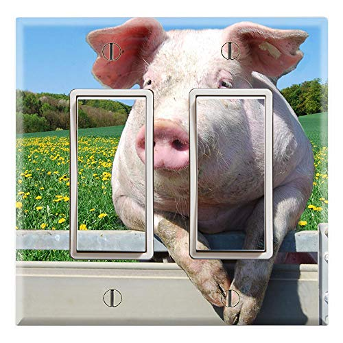 Graphics Wallplates - Pig hanging on Fence Farm - Double Rocker/GFCI Wall Plate Cover