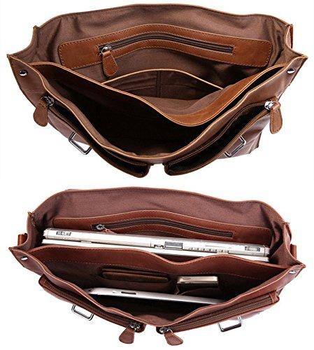 DRF Leather Business Messenger Bag Satchel Briefcase for Men Laptop Office Bag BG-263 (Brown) by DRF (Image #4)