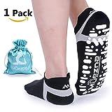 Muezna Non Slip Yoga Socks for Women, Anti-Skid Pilates, Barre, Bikram Fitness Socks with Grips, Size 5-10 (Black)