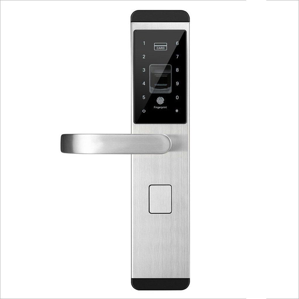 AO Door Lock Digital Fingerprint/Password/Key/Card Lock Electronic Smart Door Locks for Home Office (Color : Silver, Size : A)