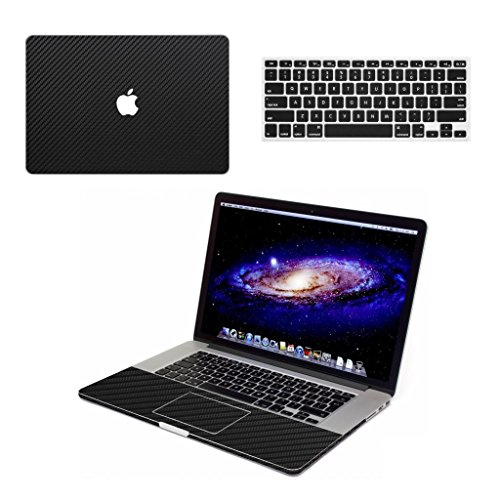 "Black Carbon Fiber Vinyl Skin Case for 15"" MacBook Pro with Retina Display, Come with Keyboard Cover"