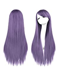 "Rbenxia 32"" 80cm Cosplay Hair Wig Long Straight Hair Heat Resistant Costume Party Full Wigs(light purple)"