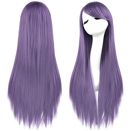 [Rbenxia 32'' Women's Cosplay Wig Hair Wig Long Straight Costume Party Full Wigs Light Purple] (Purple Wig Costumes)