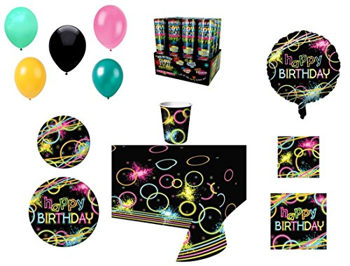 Neon Glow Stick Themed Happy Birthday Party Supplies For 8, 8-Piece Bundle