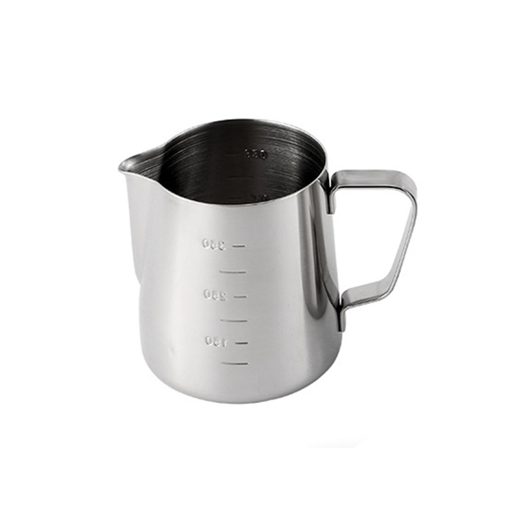 Milk/Coffee Jug,Capacity Shows Outside 350ML or 600ML,Janpanese Style Design,Perfect for Espresso Machines, Milk Frothers, Latte Art,Stainless Steel (600ML,Silver)