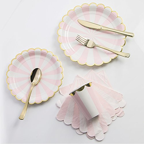 8 Guests Pink Striped with Gold Rim Disposable Partyware Dinner Set - 9 & 7 Plates, Paper Cups, Table Napkins , and Gold Plating Cutlery Set