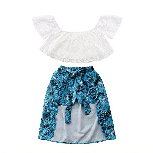 Girls Flower Crop Pant - Toddler Baby Girl Lace Flower Off Shoulder Crop Top Denim Shorts Maxi Skirt Outfits Summer Clothes Set