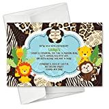 Jungle Monkey Safari Animals Baby Shower Birthday Party Invitations