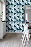 kitchen flooring ideas Tiles Stickers Decals - Packs with 56 Tiles (3.9 x 3.9 inches, Wall Tiles Mid Century Modern on Kitchen Decor Stickers Refresh Blue Backsplash Ideas)