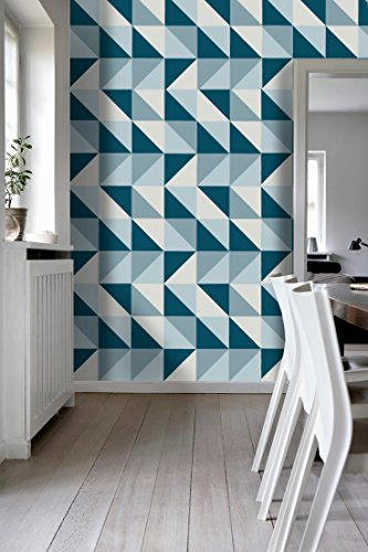 Tiles Stickers Decals - Packs with 56 Tiles (3.9 x 3.9 inches, Wall Tiles Mid Century Modern on Kitchen Decor Stickers Refresh Blue Backsplash Ideas)