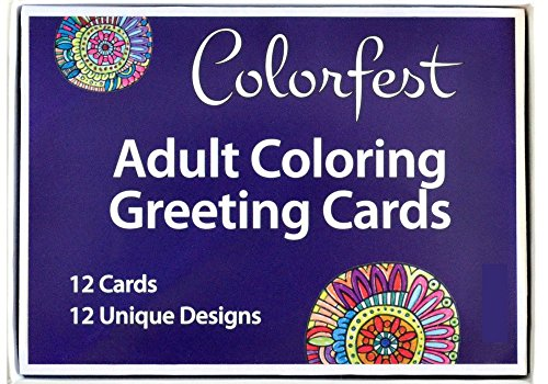 Adult Coloring Greeting Cards by Colorfest Boxed Set of 12 Unique Artist Designs with (Adult Greeting Card)