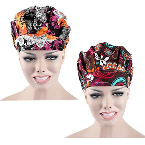 (QiaTi Women Scrub Hats with Sweatband Adjustable Cotton Bouffant Cap Doctor Scrub Cap Free Size (Style Set)