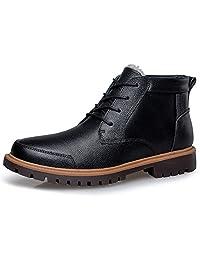 Shenn Men's Ankle Fur Lined Comfort Wear-Resistant Combat Boots 1855H