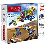 iMag Magnetic Blocks for Toddlers | IQ Builder | Magnet Building Tiles for Kids | Stem Learning Kits | Vehicle & Aircraft Set (54-Pieces) | Creative Toys