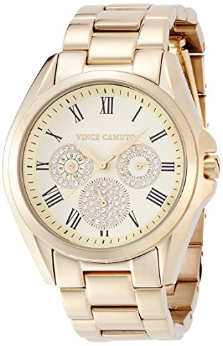 Vince Camuto Women's VC/5186CHGB Swarovski Crystal Accented Gold-Tone Multi-Function Bracelet Watch