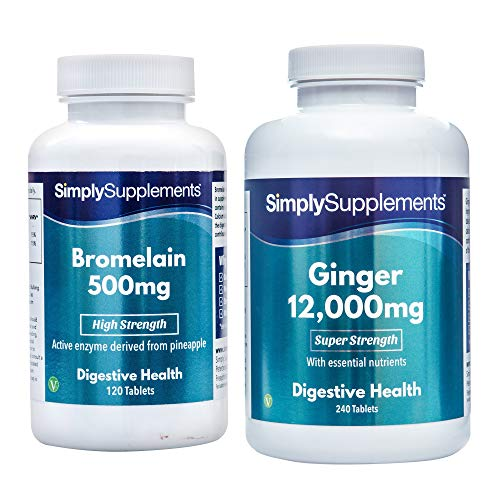 - SimplySupplements Bromelain 350Mg 120 Capsules + Super Strength Ginger 12000Mg 240 Tablets |Digestive Aid & Joint Support
