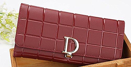 Viola della svago capacità di borsa della borsa Rosso del Colore raccoglitore elevata borsa signora del Vino di card Semplicità cuoio Borsa Sacchetto di lunga CLOTHES della di dell'inarcamento multi Sezione qUppIS
