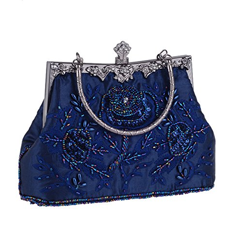 Blue Beaded Dinner Bag Bridal Bag Evening Bag Bag Banquet Embroidered Chain Cheongsam Silk Handbag Vintage Clutch Ladies xa0PqOWW