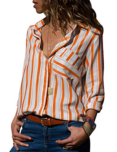 Orange White Striped Shirt - CILKOO Womens Casual V Neck Striped Button Down Collar Chiffon Long Sleeve Blouses Tops Work T-Shirt Orange White US12-14 Large